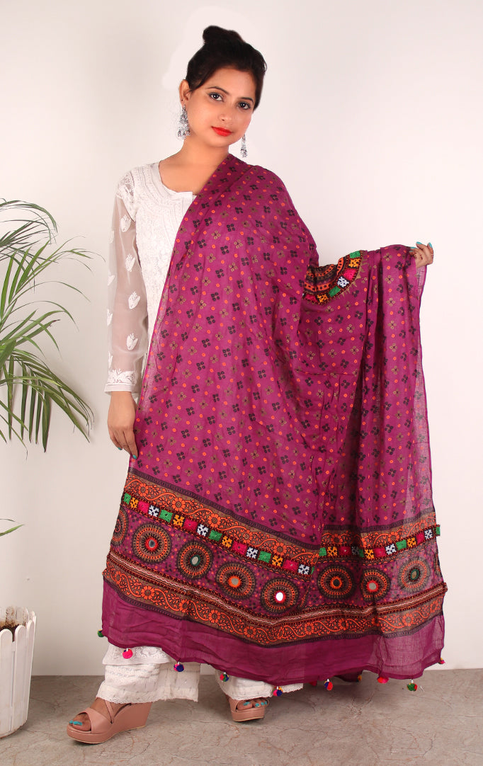 GRACE OF A QUEEN DUPATTA WITH BANDHANI  PRINT