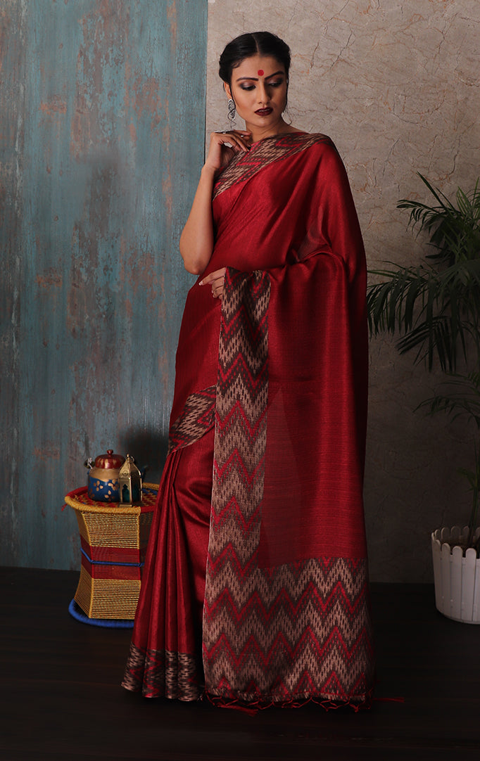 Deep red Saree with Beige-Red Chevron Border