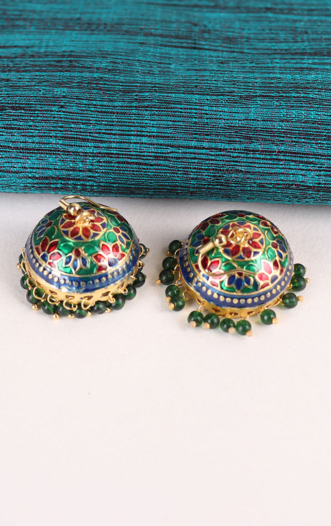 Multicolored Meenakari Jhumkis