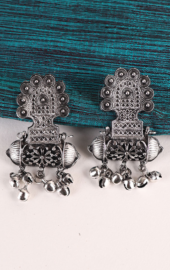 Taveez-style Statement Oxidized Earrings