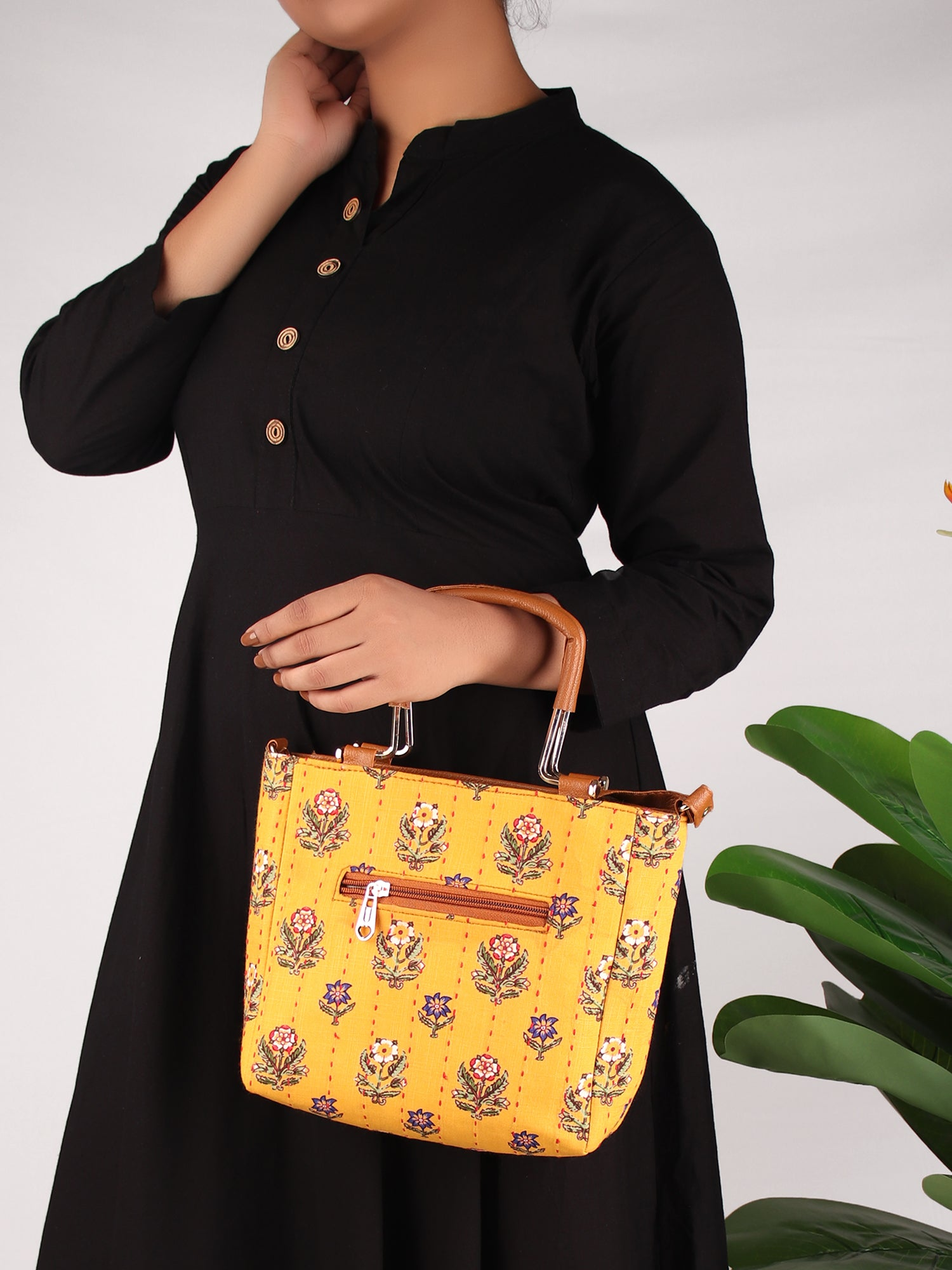 MARIGOLD BLOCK PRINT HANDBAG WITH HANDLE