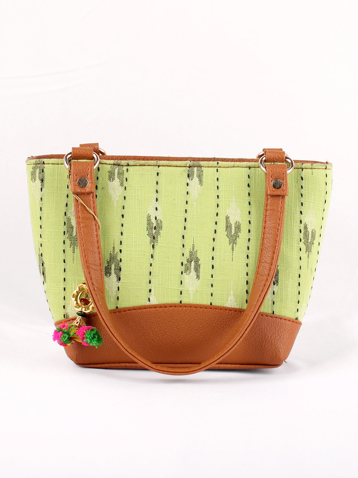 LIGHT GREEN IKKAT PRINT HANDBAG
