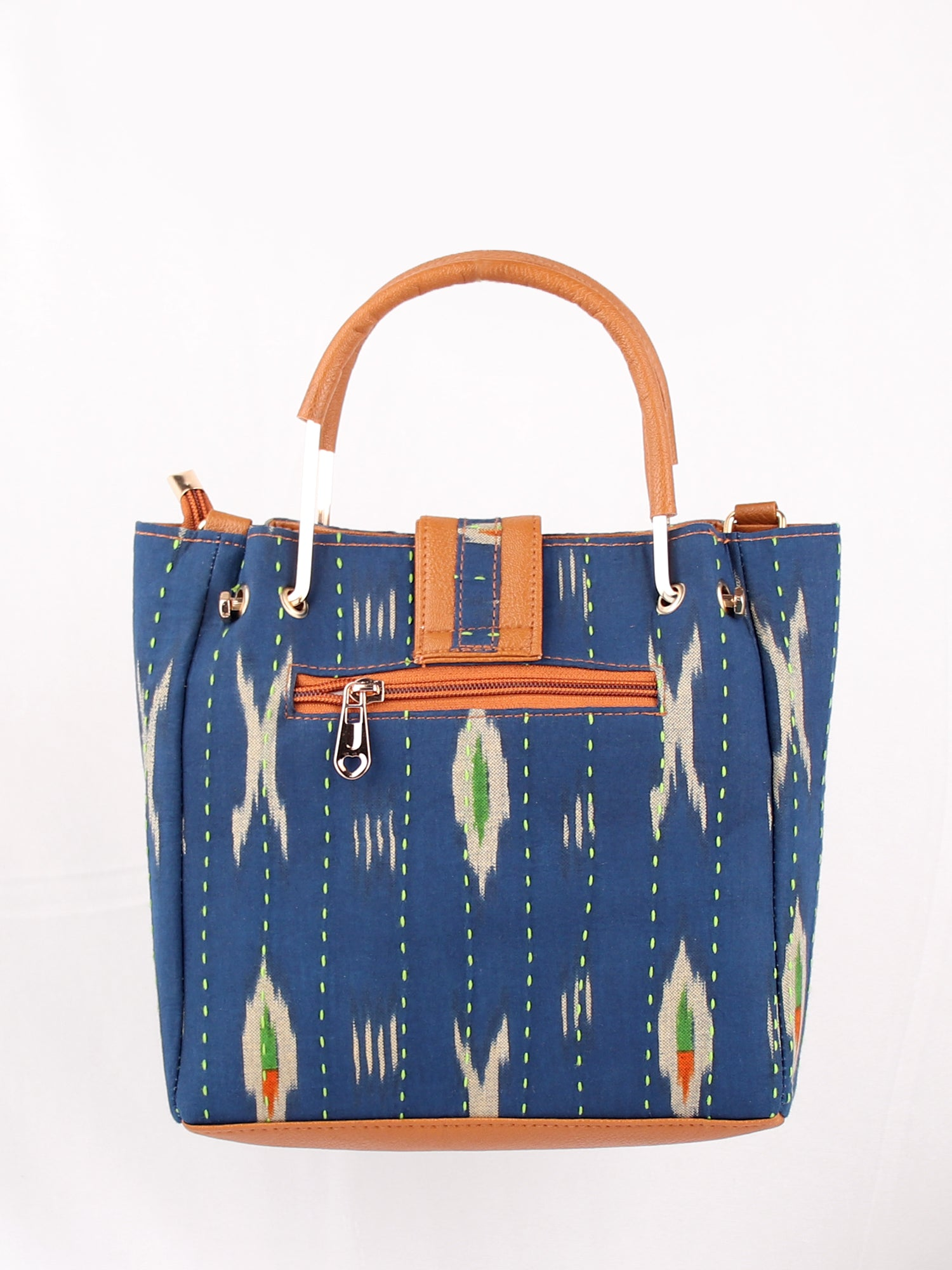 IKKAT PRINT NAVY HANDBAG WITH ADJUSTABLE STRAP