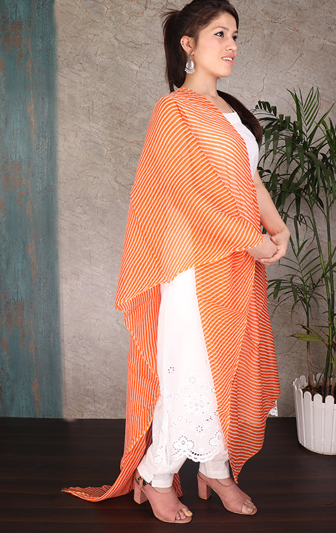 Lehariya Orange White Dupatta