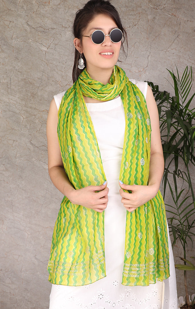 Green-Yellow Lehariya Dupatta