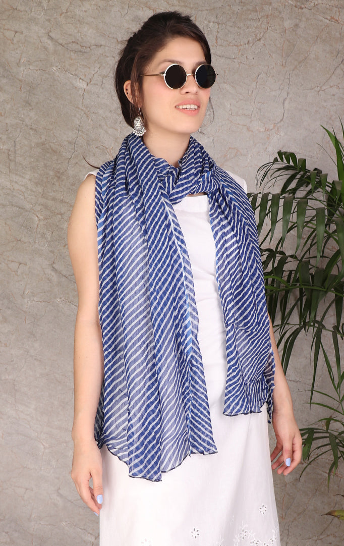 Navy Blue-White Geometric Printed Dupatta