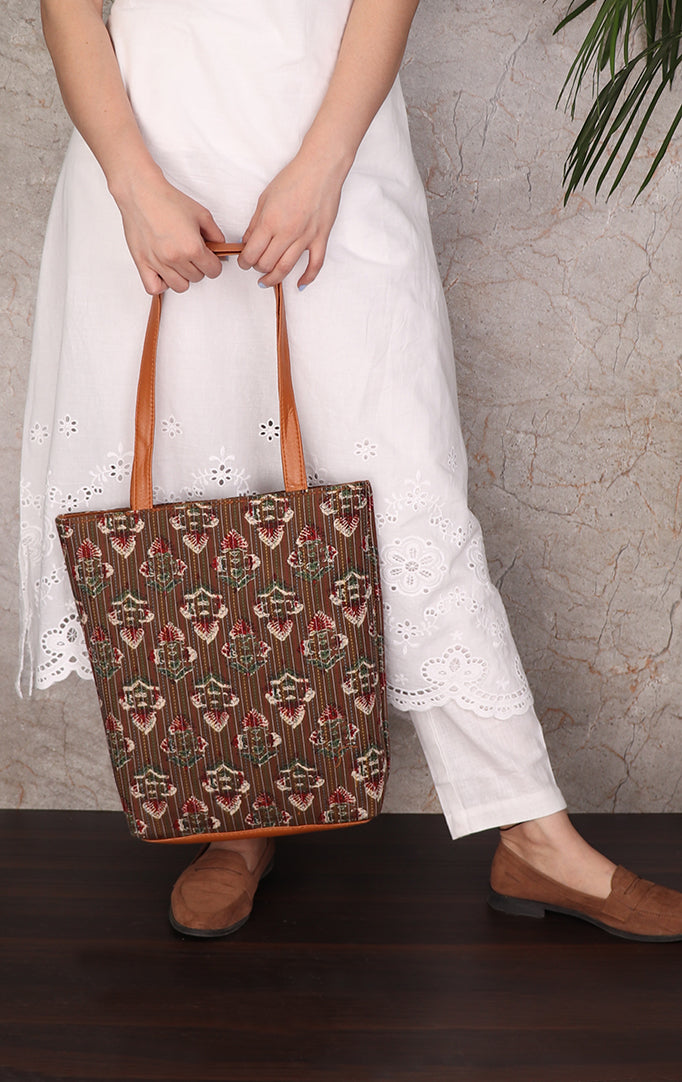 Brown White Tote Bag