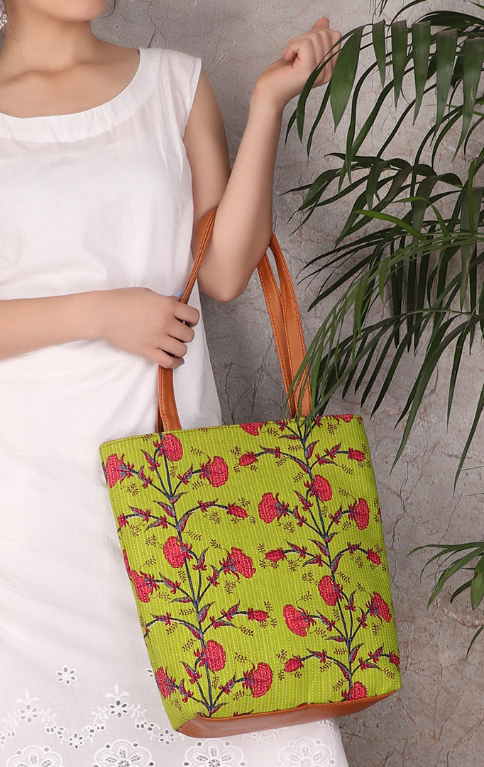 Flower Block Print Totebag