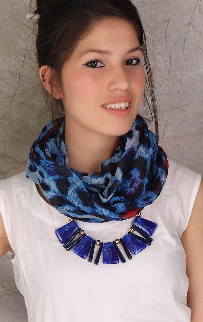 Animal Print Blue-Black Necklace Stole