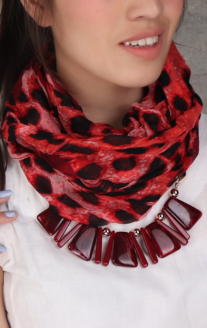 Animal print red-black necklace stole
