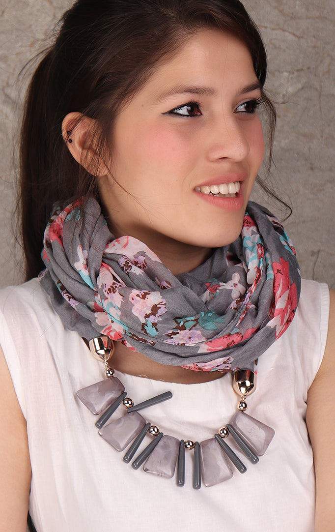 Floral Print Gray necklace stole