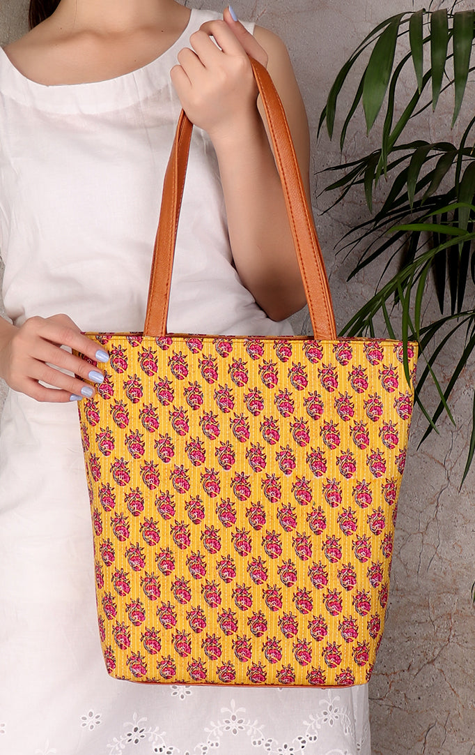 Charming Fabric Totebag in Yellow