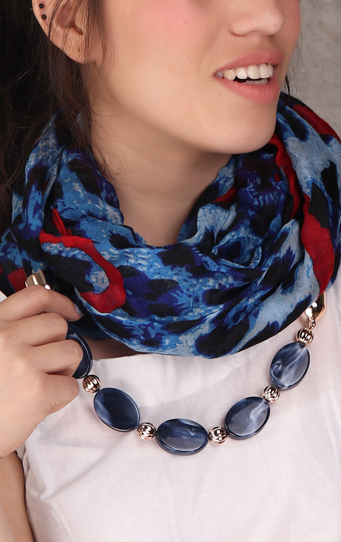 Shaded Blue animal printed necklace stole