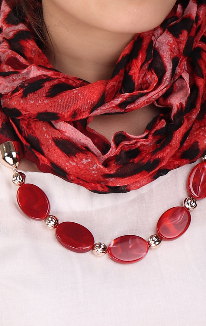Shaded Red animal printed necklace stole