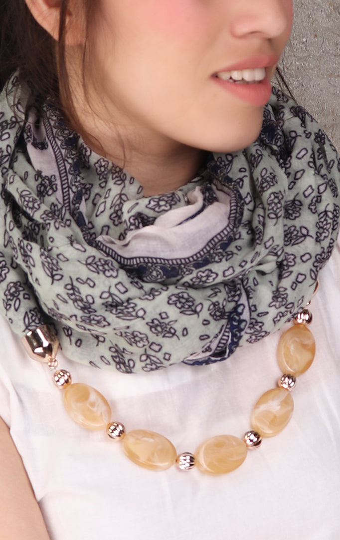 Shaded Green With Flower Print necklace stole