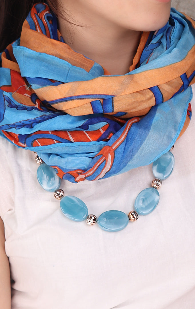 Multicolor Necklace Stole With Oval Beaded