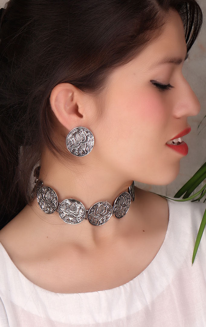Oxidized Choker and Earrings set