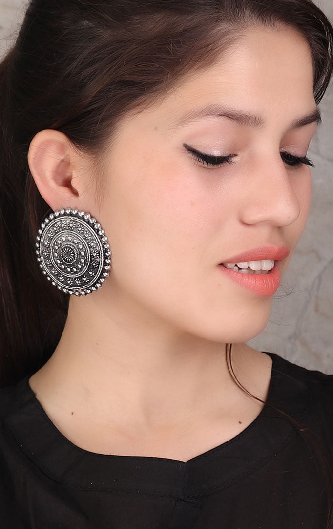 Oxidized Designed Stud Earrings