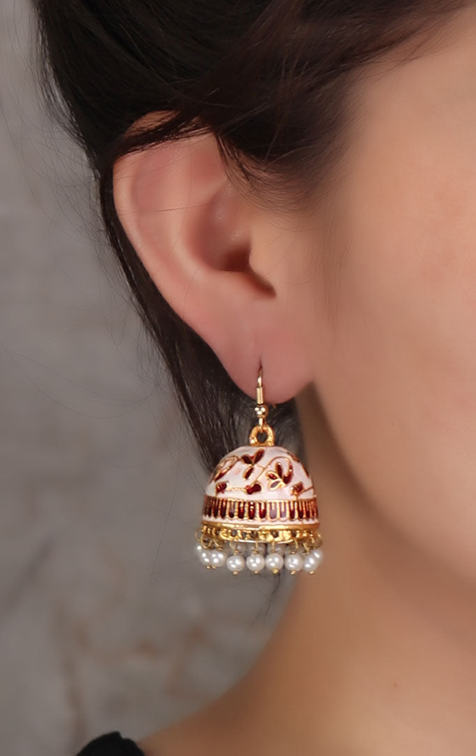 White-red Meenakari Jhumkis