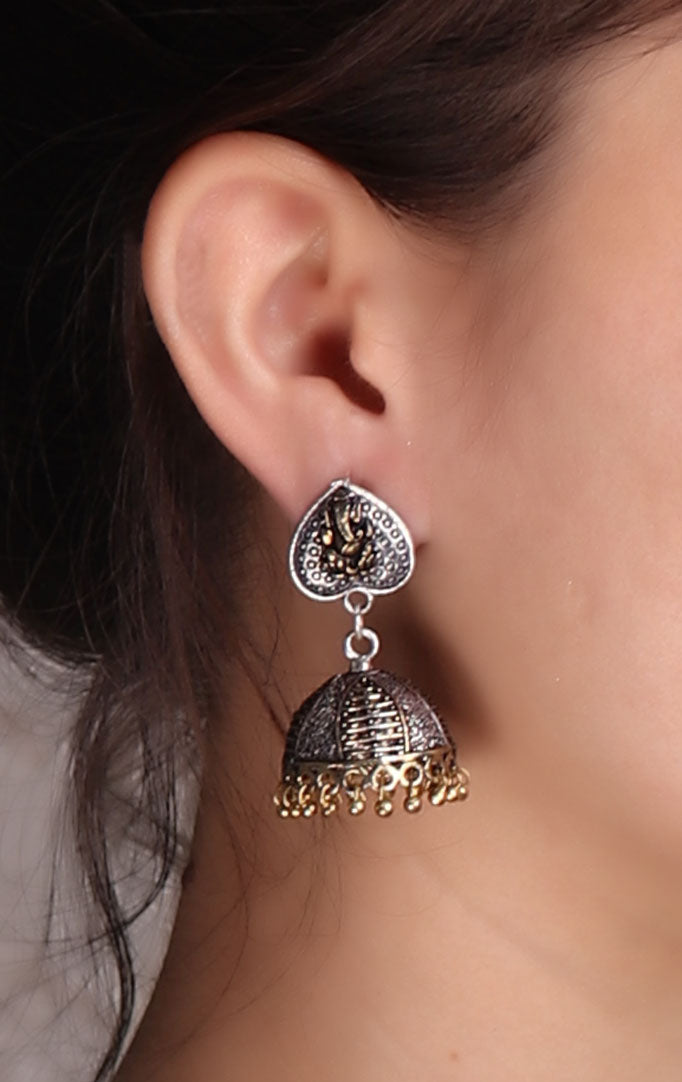 Ganesha-carved Oxidized Jhumkas