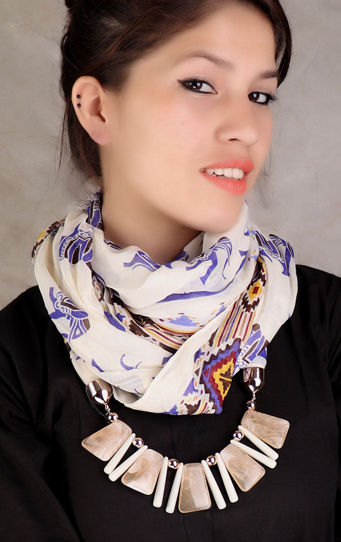 Cream Statement Beaded Necklace Embellished Stole with Elephant Print