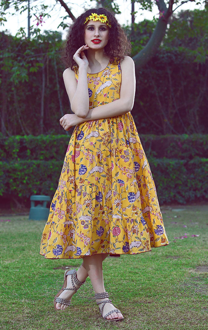 Printed Yellow Flare Dress