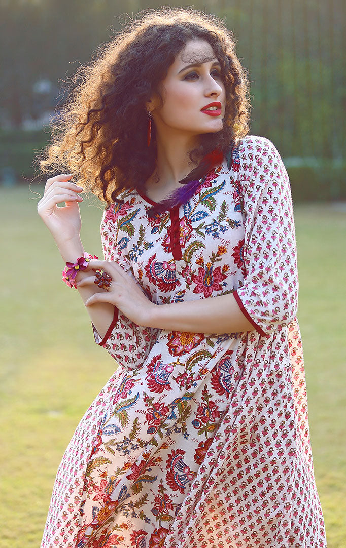 Red White Mughal Print Dress
