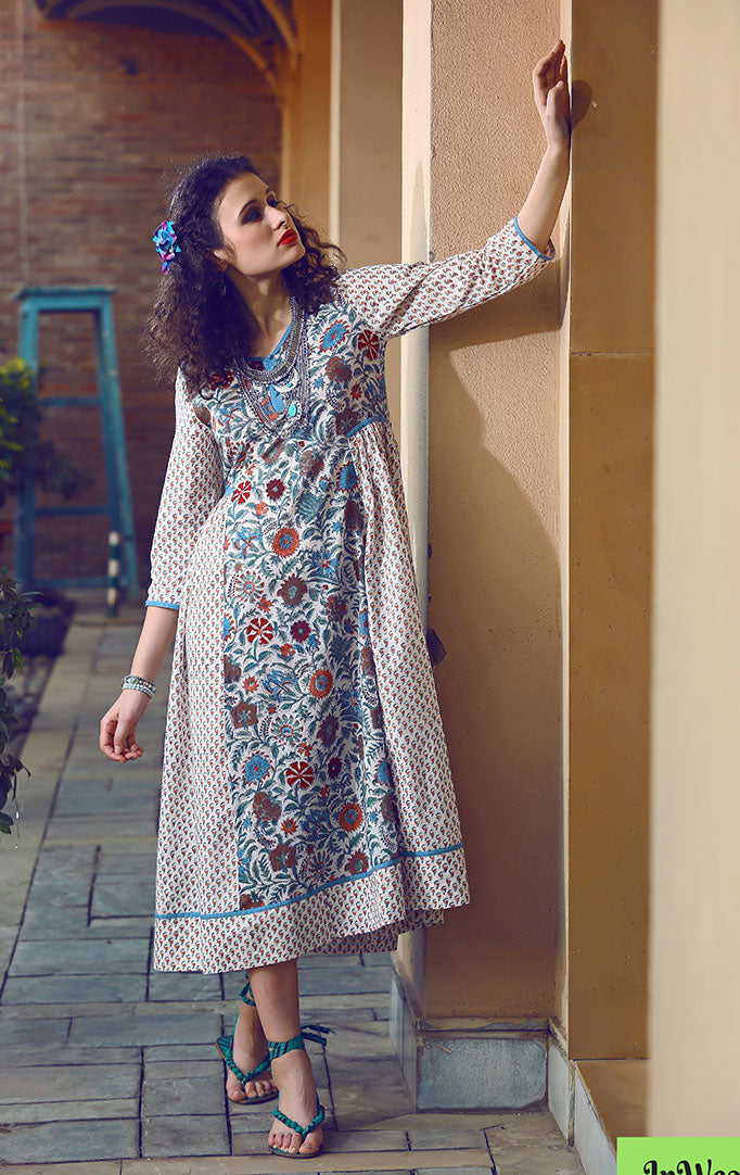 Blue White Mughal Print Dress