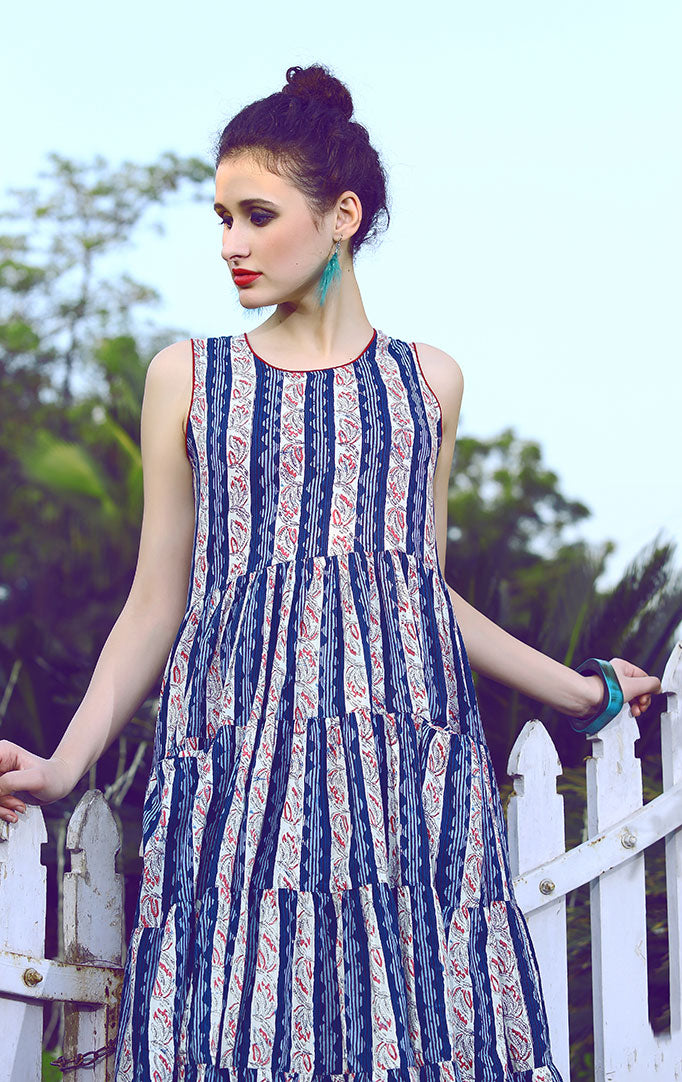 Layered Blue-white Striped Dress