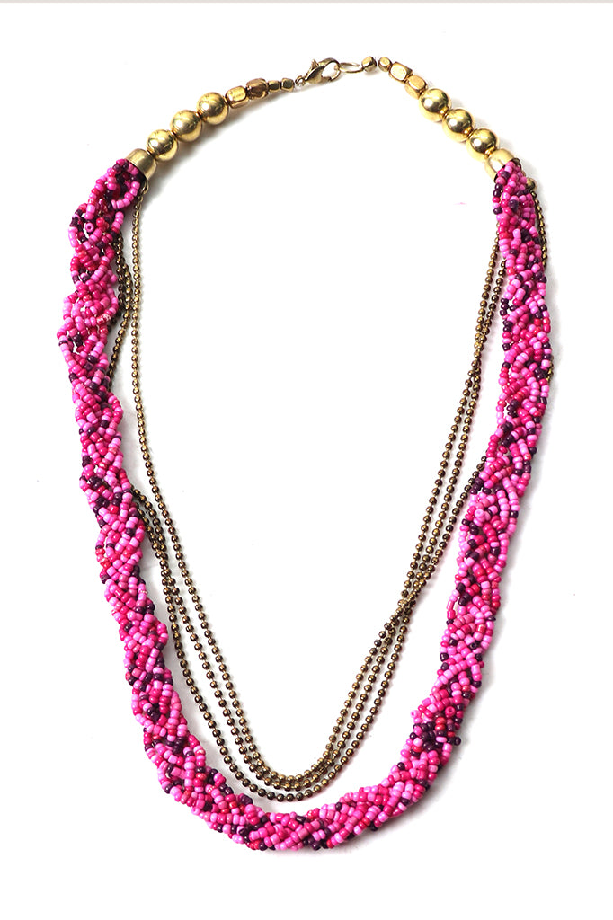 Pink & Gold Beaded Necklace