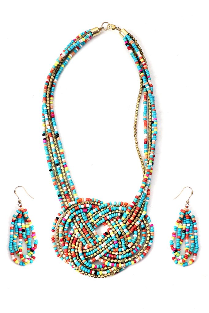 Deep Blue-Gold Beaded Necklace Set