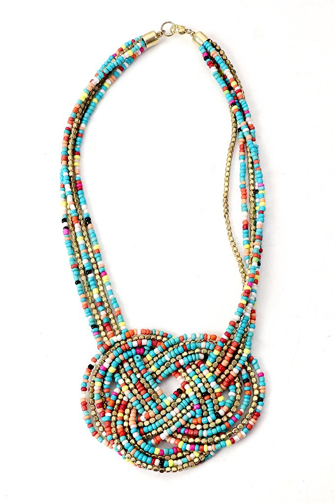Attractive Multicolored Necklace with Earrings