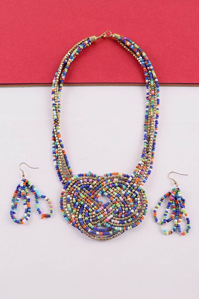 Blue-Gold Beaded Necklace with Earrings