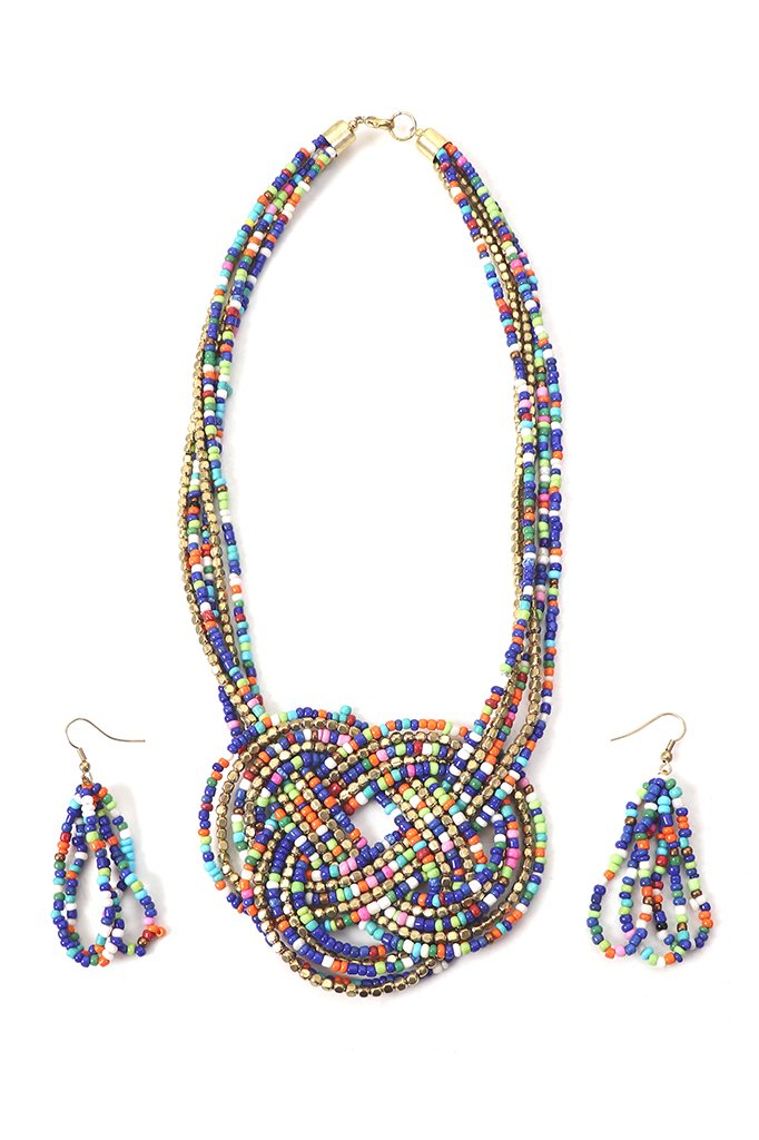 Multicolored Knotted Beaded Necklace Set