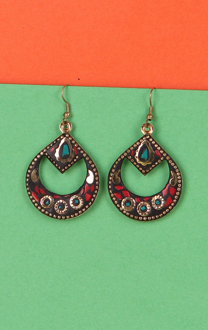 Oval Blue-Red Danglers