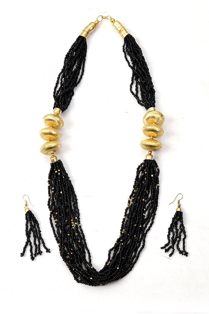 Black-Gold Beaded Necklace with Earrings