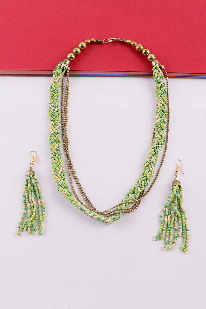 Green-Gold Necklace Set with Earrings
