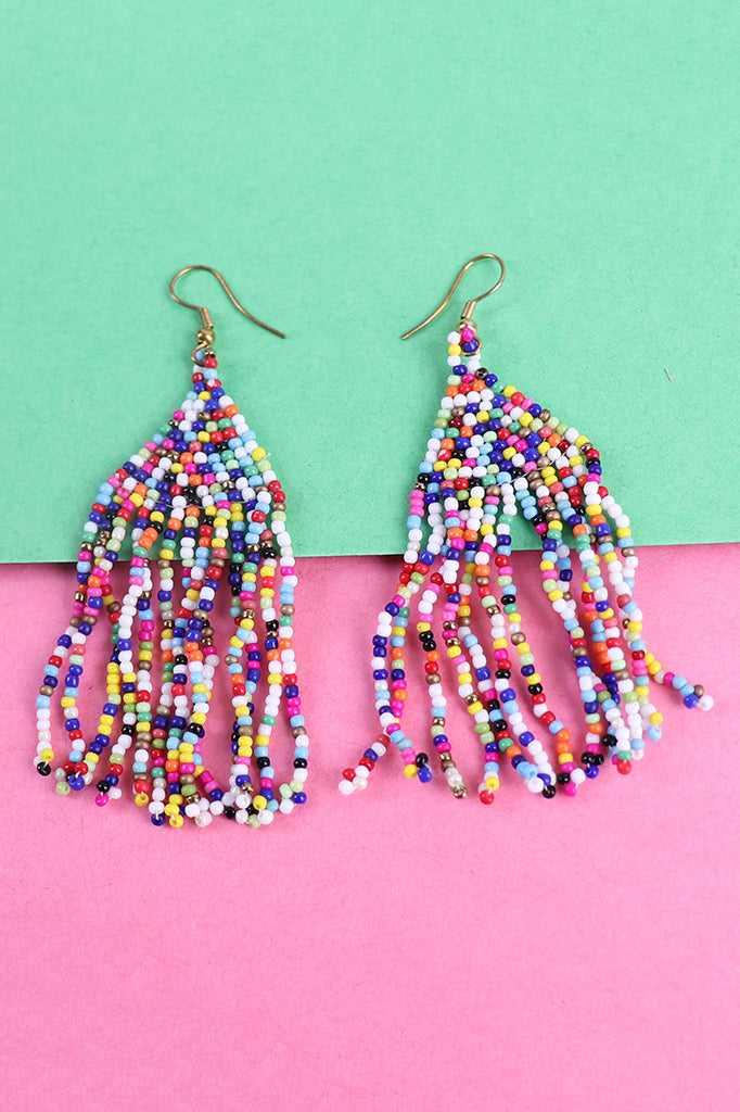 Multi color Beaded Tassel Earrings