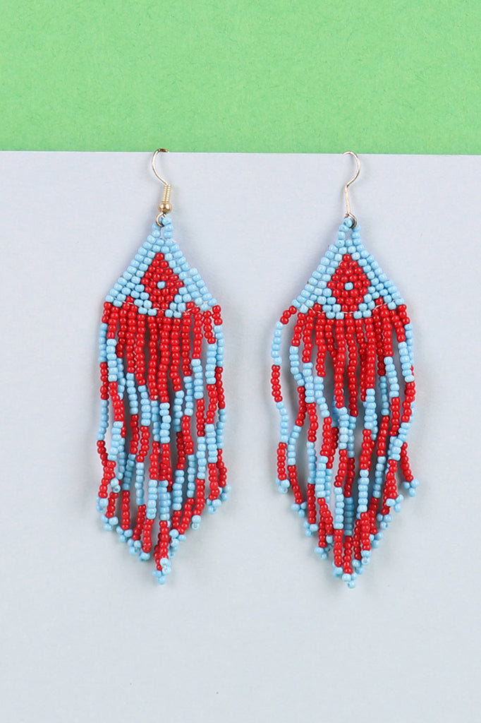 Red-Blue Beaded Tassel Earrings