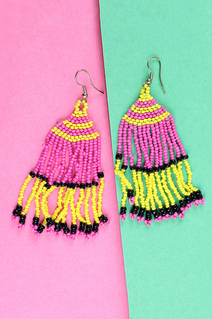 Pink, Yellow and Black Beaded Tassel Earrings