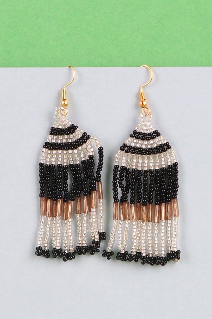 Black, Golden and Silver Beaded Tassel Earrings