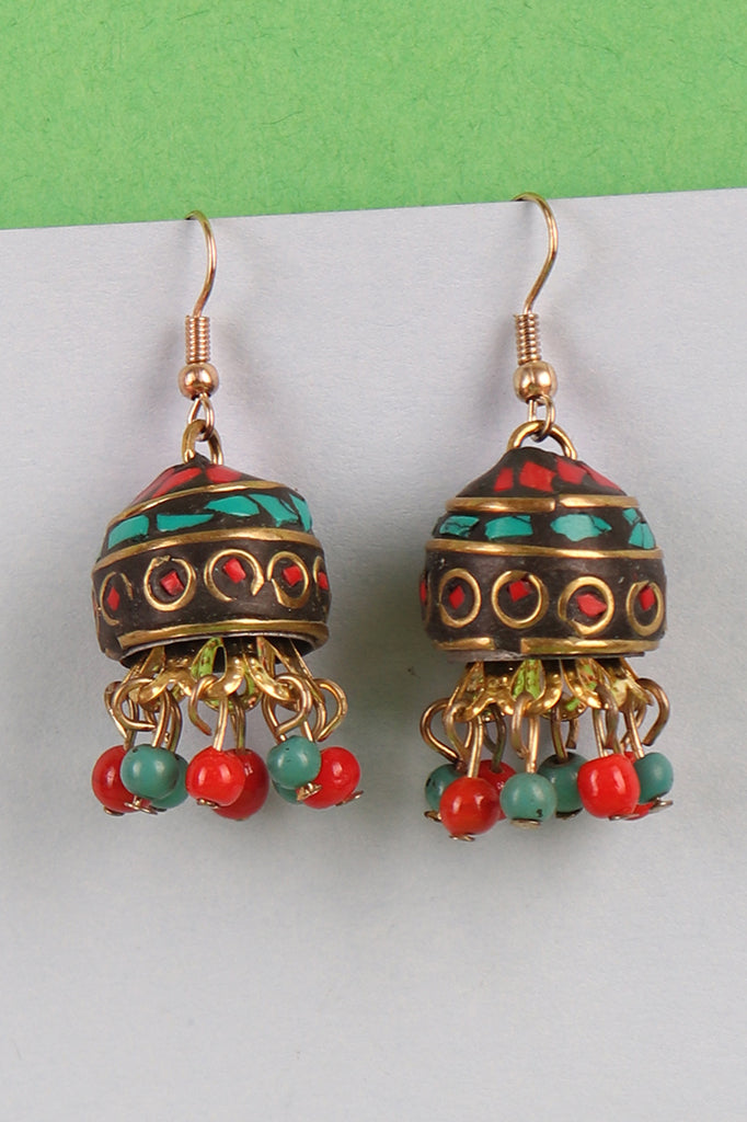 Brown Jhumkis with Red-Green Beads