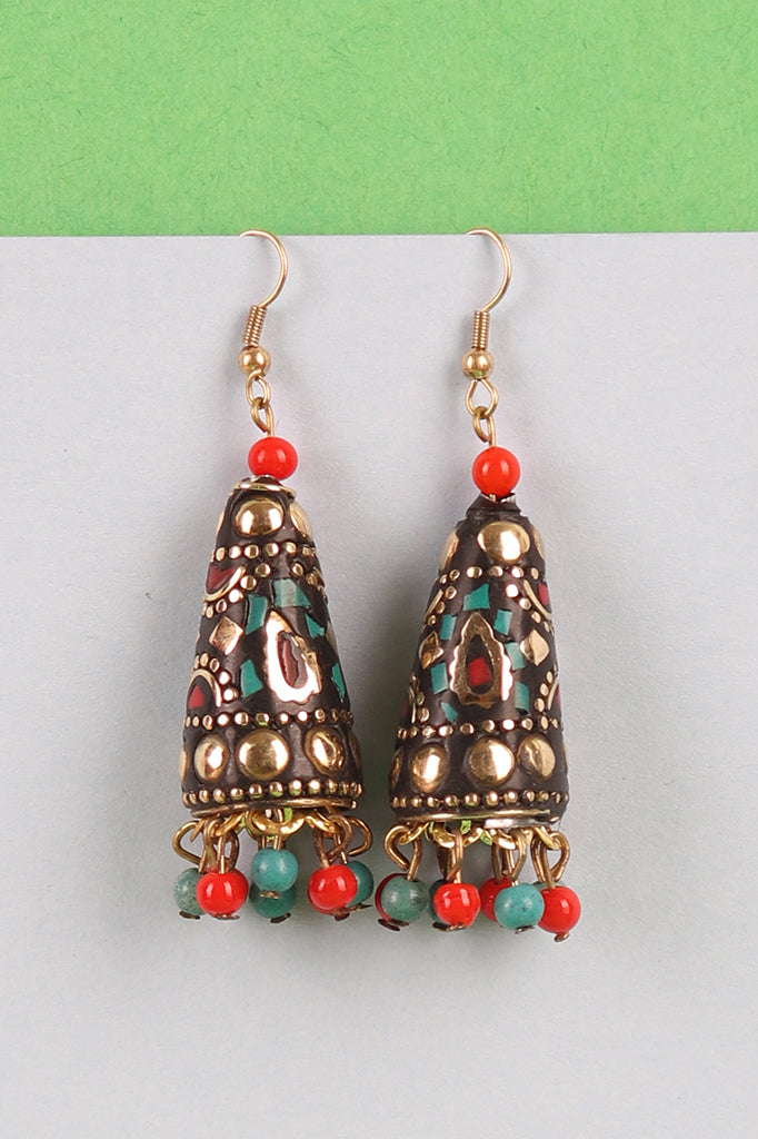 Brown Triangular Jhumkis with Red-blue Beads