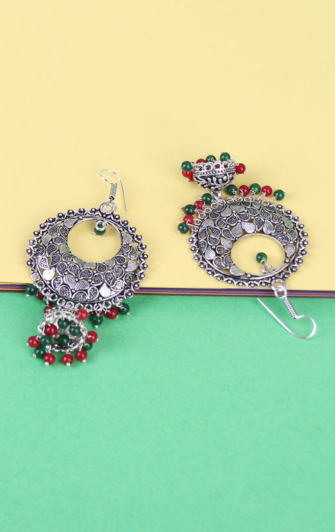 Silver Chandbali with Green-Red Beads