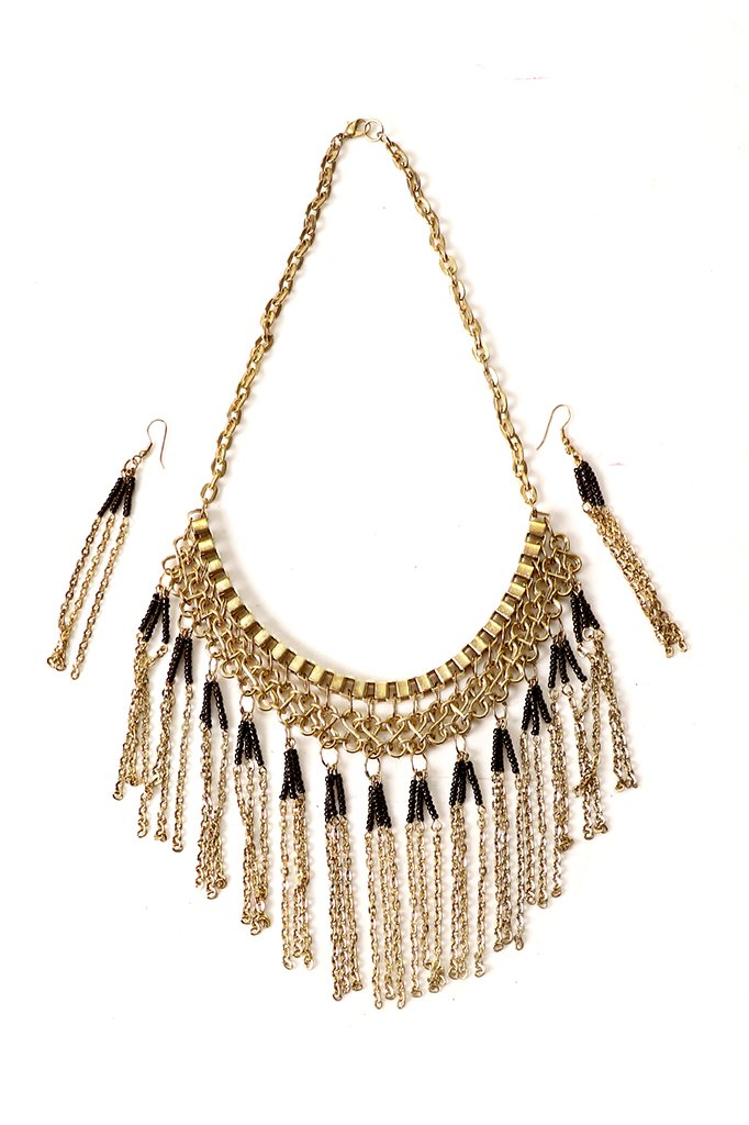 Black-Gold Classic Beaded Necklace Set