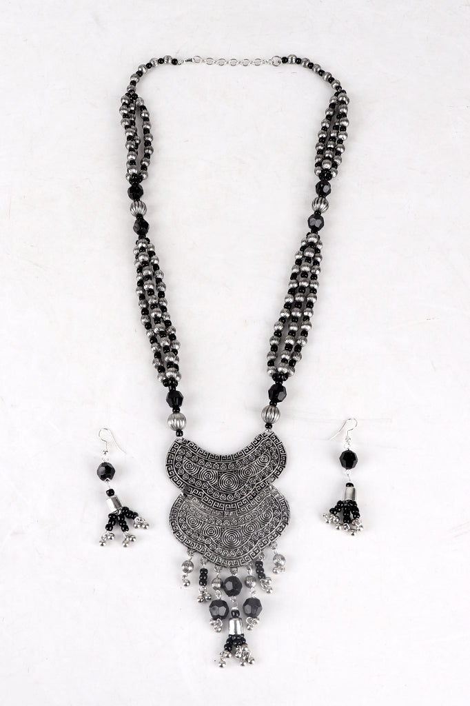Black-silver Beaded Necklace Set