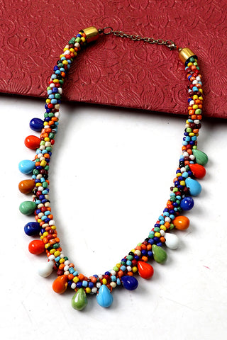 Multicolored Stone-Beaded Necklace