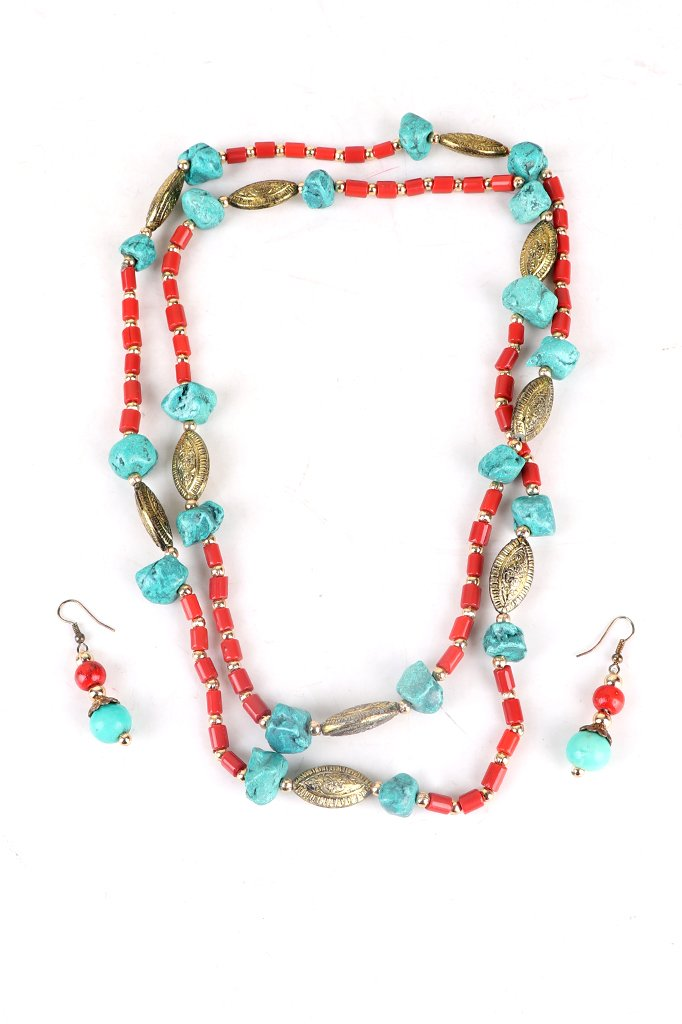 Turquoise-Red Long Necklace Set