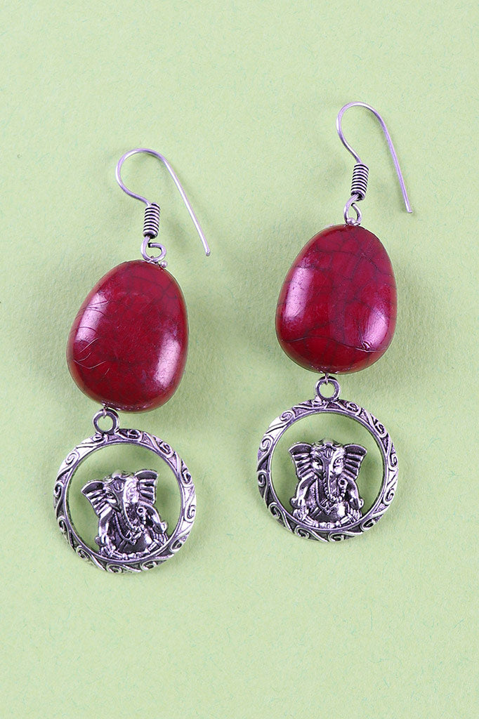 Ganesha Stone-Oxidised Metal Earrings