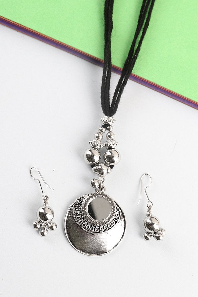Mirror Pendant Necklace Set